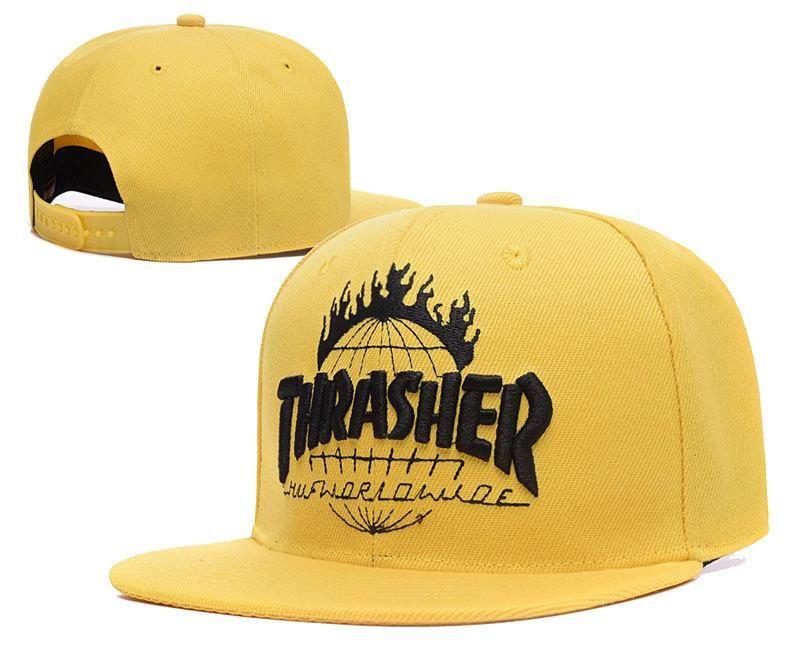 Men s Thrasher x Huf TDS Tour De Stoops Worldwide Baseball Snapback Hat -  Yellow   Black e3126bfa5432