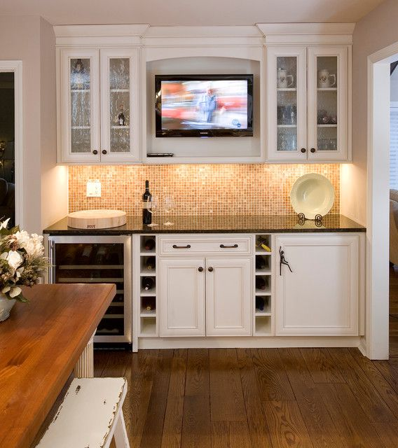 Wet Bar Ideas Gallery: Bar With White Cabinets, TV Display
