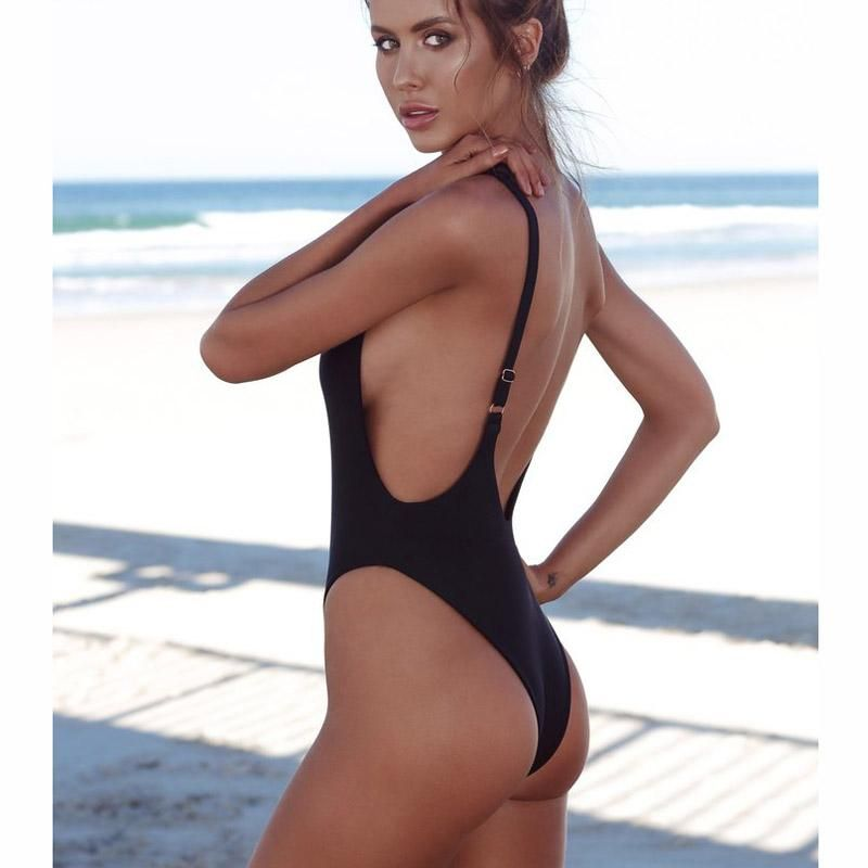 f19cb1f738dea 2018 Women One Piece Swimsuit Solid Female Sexy Black Backless Brazilian Swimwear  Women Fused Monokini Beachwear XL