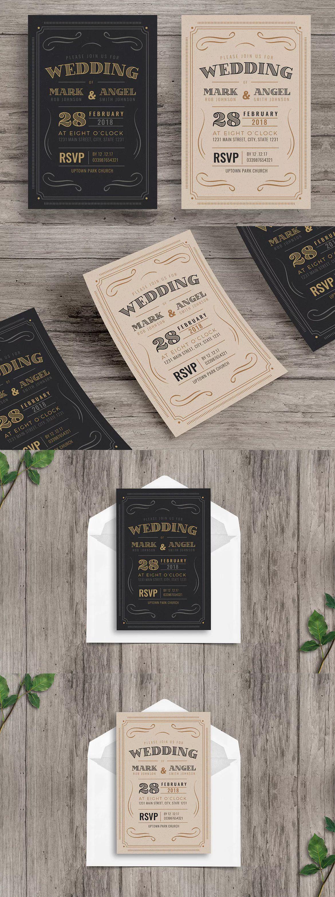Vintage Wedding Invitation Template AI PSD Wedding Invitation - Wedding invitation templates: wedding invitation template illustrator