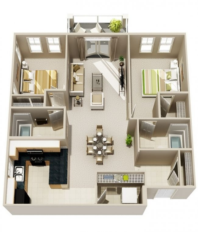 50 plans 3d d 39 appartement avec 2 chambres sims - Lay outs idee klein appartement ...