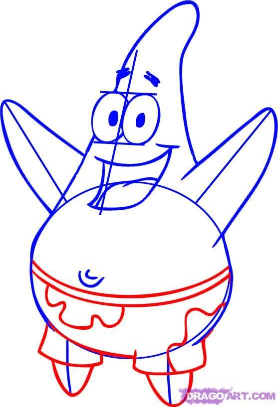 How To Draw Patrick Star From Spongebob Squarepants Step 4 Spongebob Drawings Spongebob Patrick Star