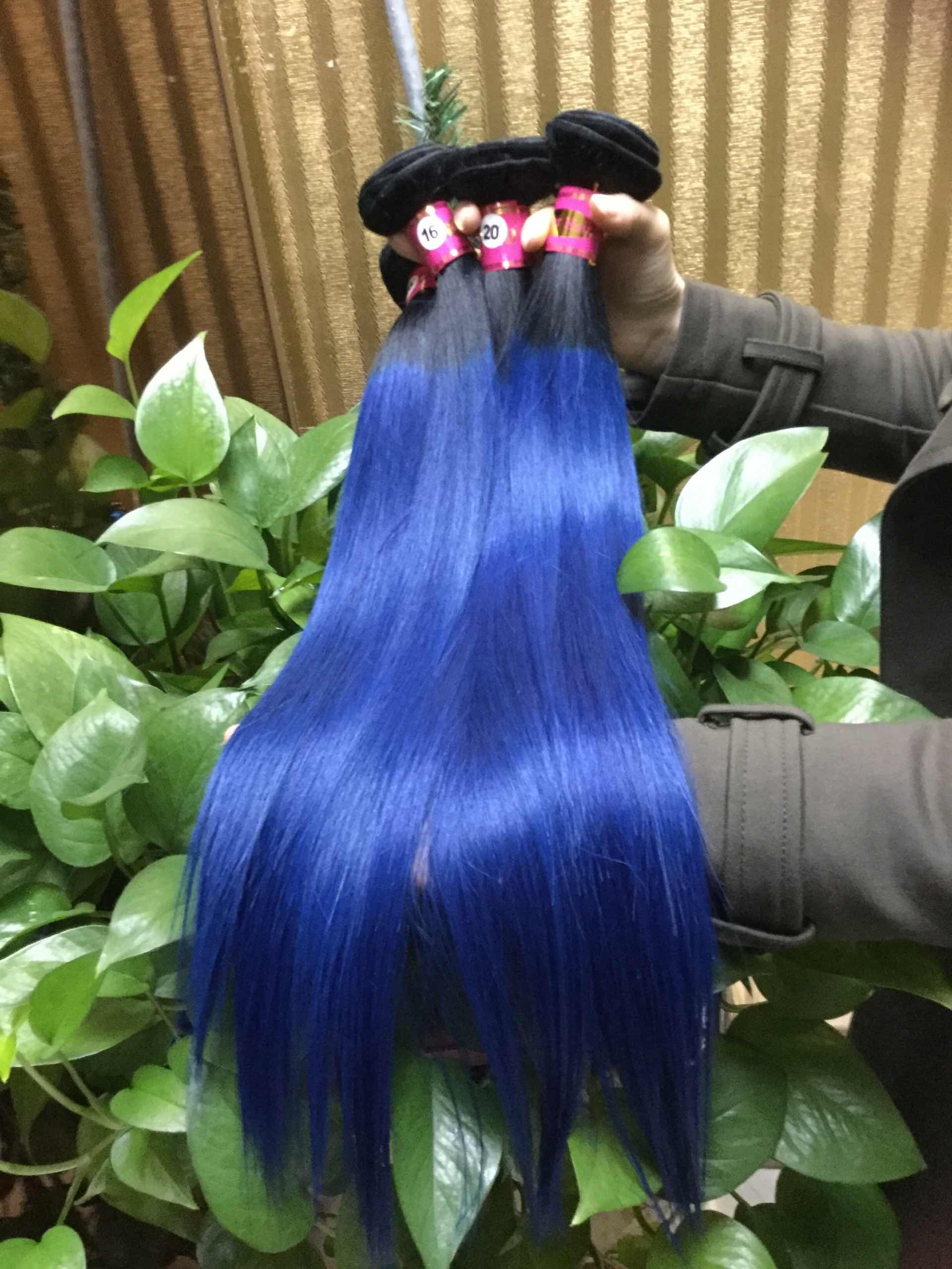 Blue Hair Weave Color16 Inches Straight Indian Remy Hair Extensions