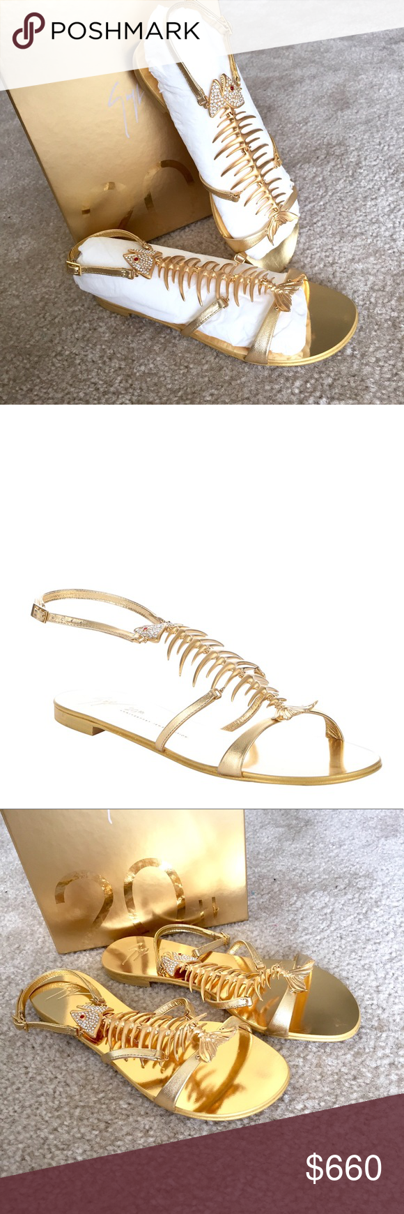 420b4ef5e45ad GIUSEPPE ZANOTTI Gold Leather Fish Bone Sandals GIUSEPPE ZANOTTI Gold  Metallic Leather '20th Anniversary'