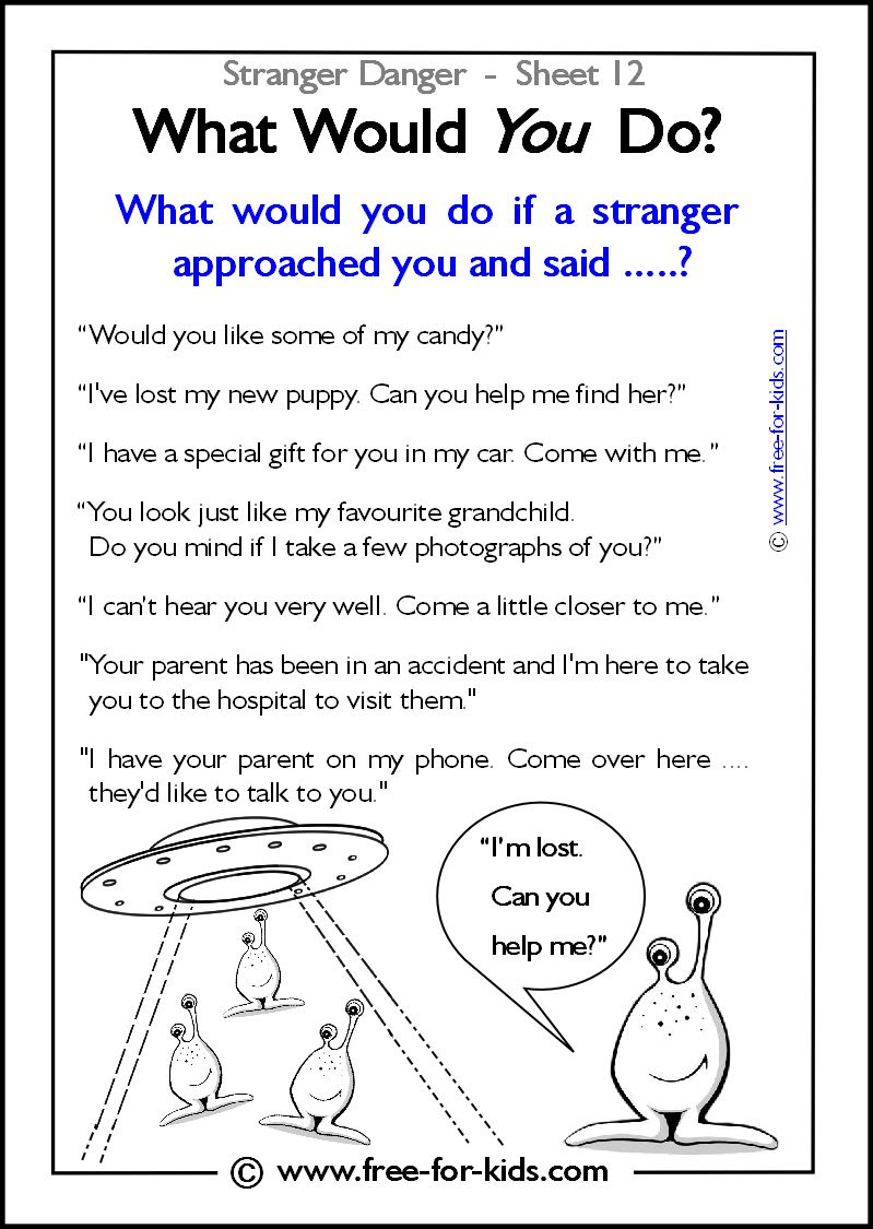 Responsibility Activity Sheets More Stranger Danger Worksheets and