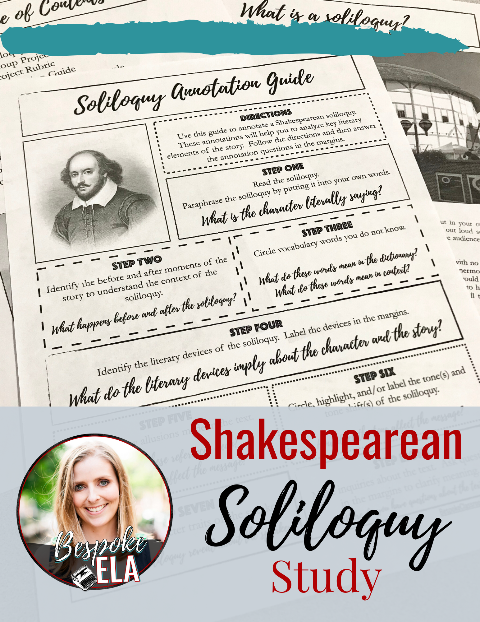 Shakespearean Soliloquy Study For Any Play Shakespeare Lesson Plan Close Reading Teaching British Literature Complete Paraphrase Of Much Ado About Nothing