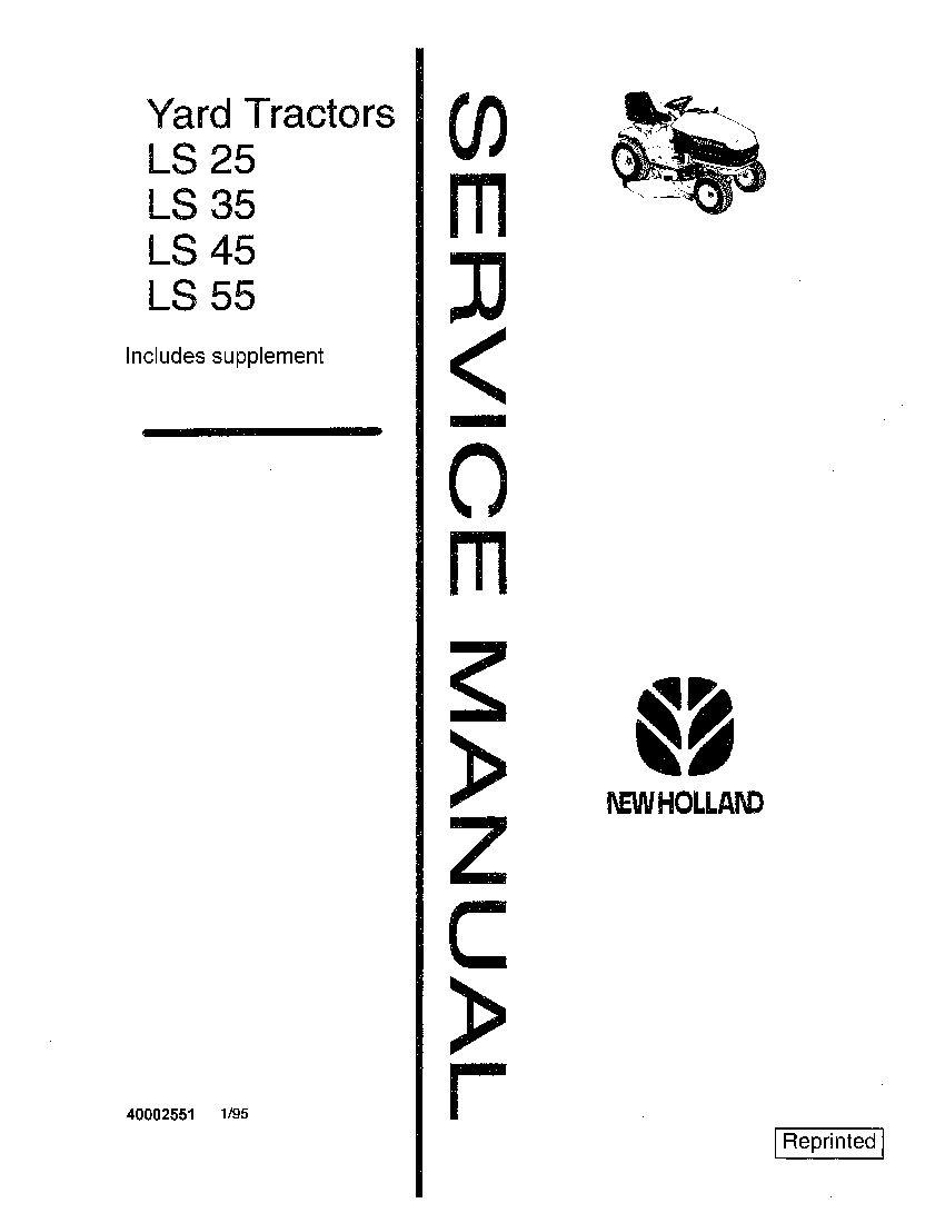 New Holland LS25 LS35 LS45 LS55 Tractor Service Manual