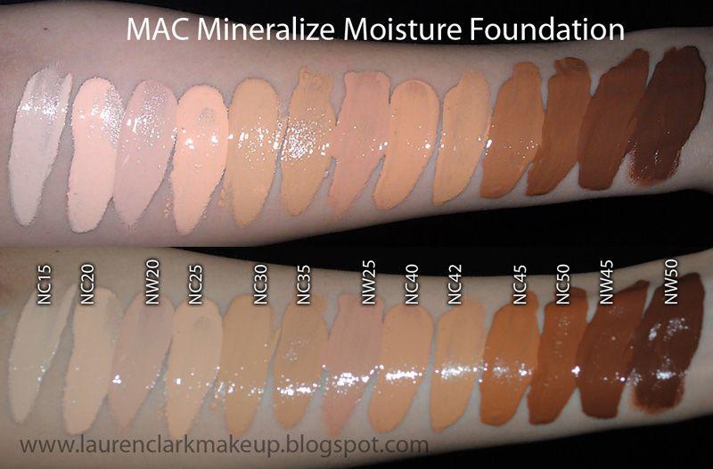 mac mineralize satinfinish foundation swatches