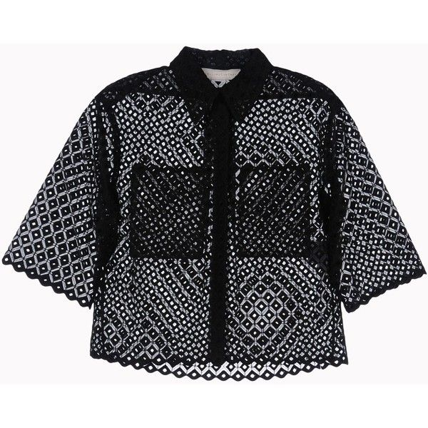 Stella Mccartney Cutwork Embroidery Dore Shirt (12.601.880 VND) ❤ liked on Polyvore featuring tops, blouses, shirts, black, cut-out tops, organza blouse, cutout tops, geometric pattern shirt and embroidery blouses