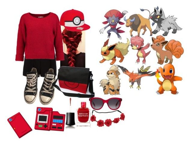 """""""Pokemon Trainer//Ash"""" by chibiblue ❤ liked on Polyvore featuring DKNY, Nintendo, Rebecca Minkoff, Converse, Deborah Lippmann and Alexander McQueen"""