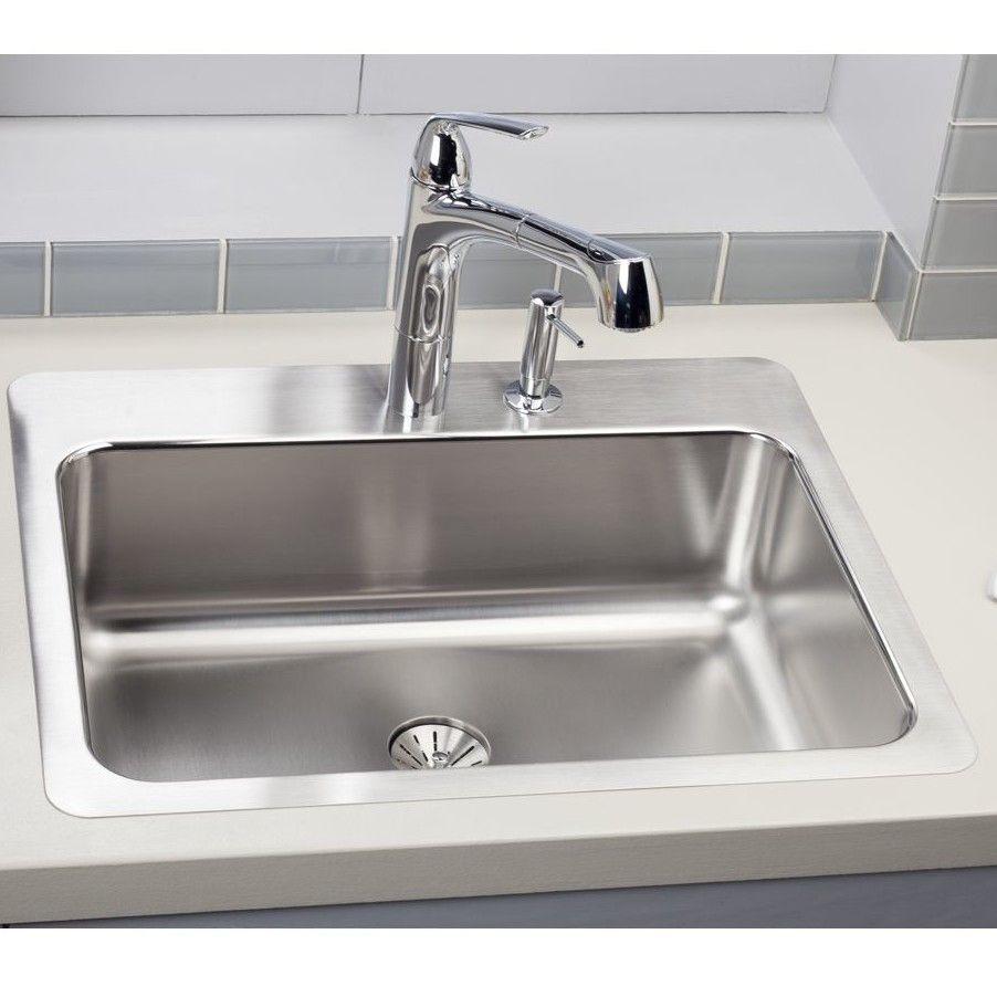 Gourmet 27 X 22 Stainless Steel Single Bowl Dual Mount Kitchen Sink Stainless Steel Kitchen Sink Sink Drop In Kitchen Sink