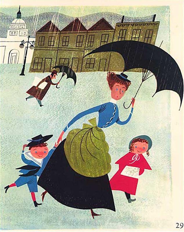 Vintage 1950's Nanny with Children Under Umbrella in the Rain Illustration Print - by Alice and Martin Provensen