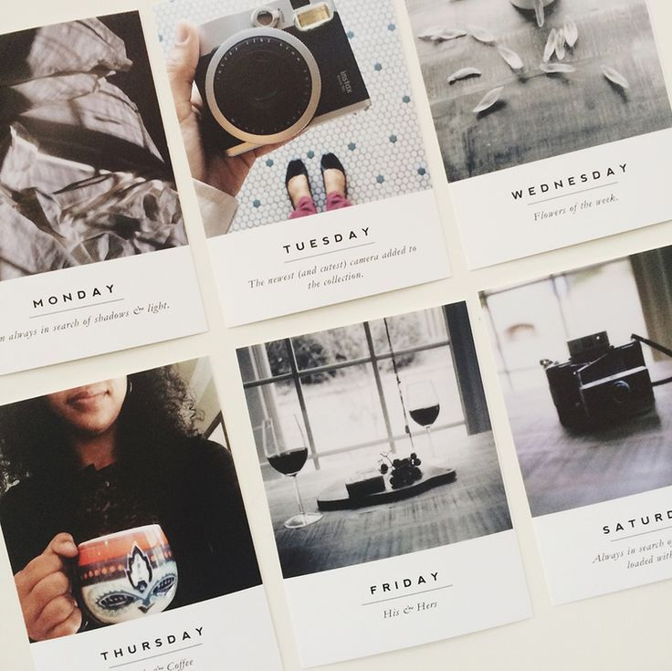 Layout Graphic Design Inspiration: Cute Polaroids With Headings For Project Life