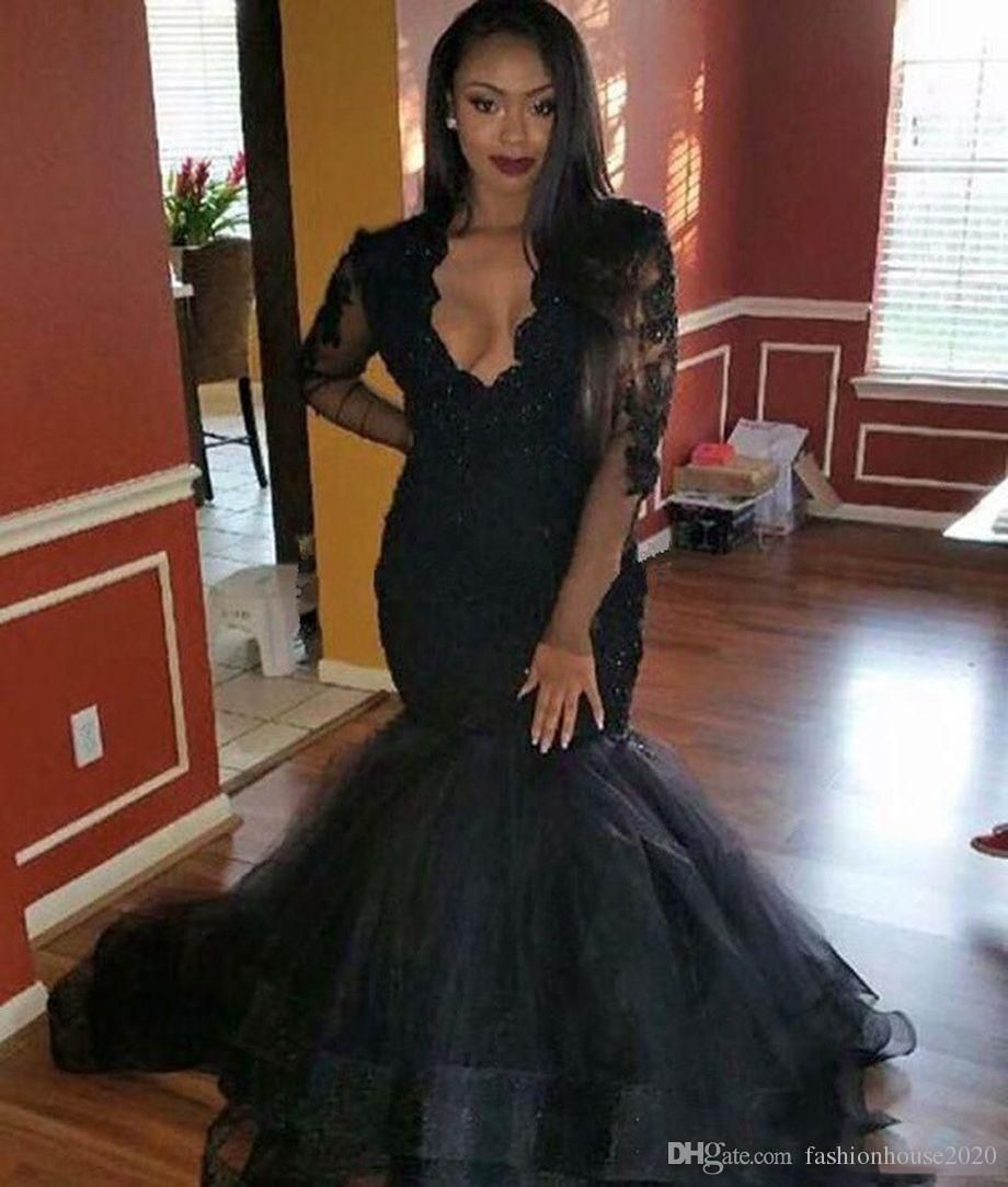 Long Sleeve Mermaid Prom Dresses