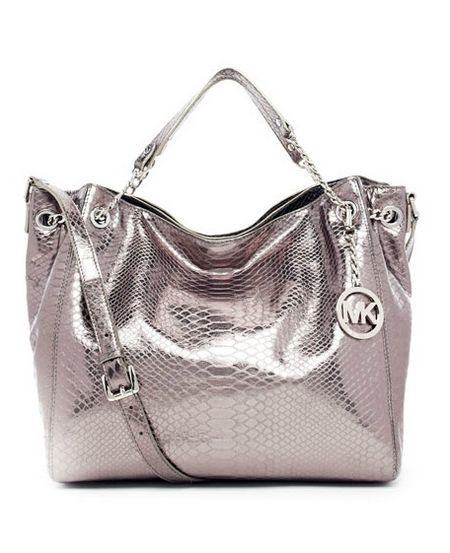 Michael Michael Kors Jet Set Chain Python-embossed Shoulder Tote Gunmetal.  Some less than