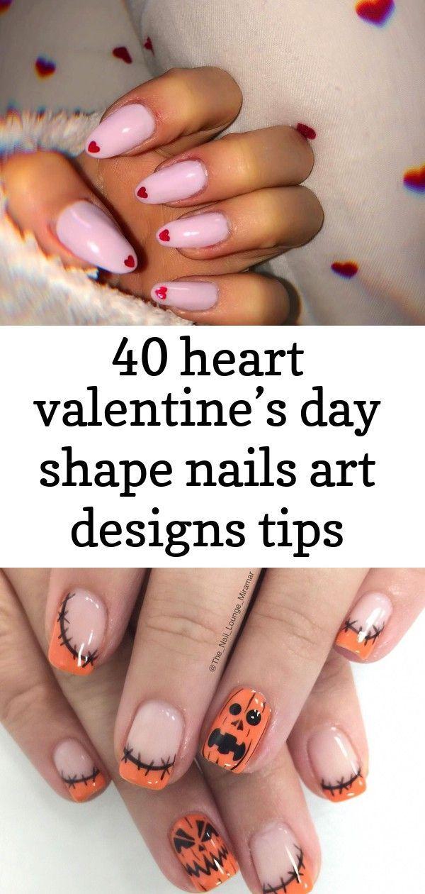40 heart valentine's day shape nails art designs tips – #designs #heart #nails #Shape #valentine –