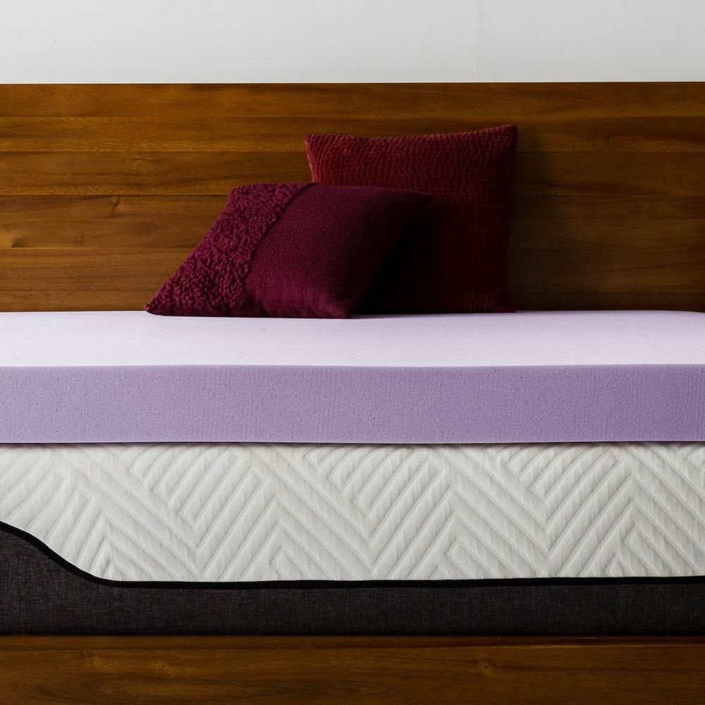Lucid Comfort Collection 4 Inch Lavender And Aloe Infused Memory Foam Topper Twin Xl Purple Memory Foam Mattress Topper Memory Foam Heated Mattress Pad