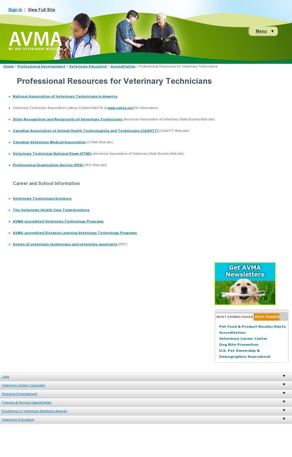 Professional Resources for Vet Techs from AVMA