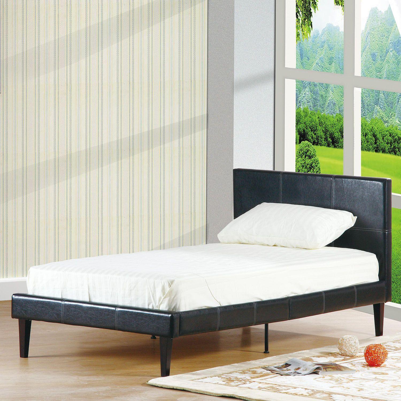 estructura de cama con cabecero de polipiel en color negro x cm
