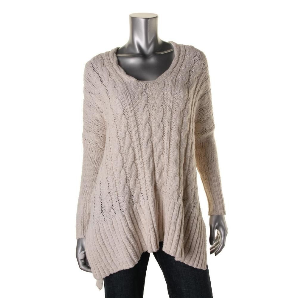 Free People 5798 Womens Cable Knit Oversized V Neck Tunic Sweater ...