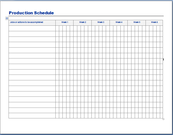 Daily Grade Template Production Schedule Template Sample - Production calendar template