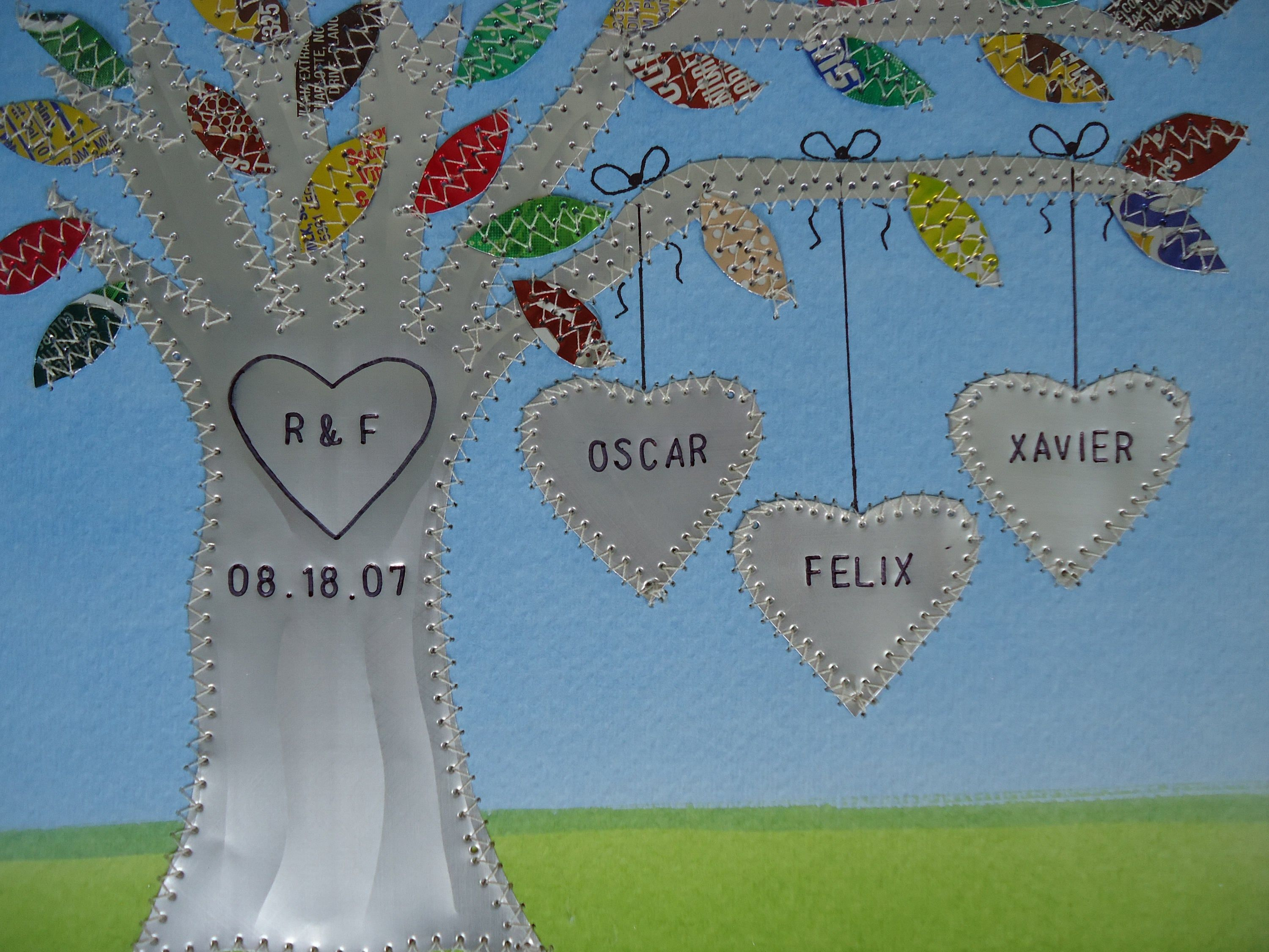 Tin Year Anniversary Gift, 0 Year Anniversary, Aluminum Tree, Stamped Names and Wedding Date, Auminum Family Tree, Personalized Wedding Tree