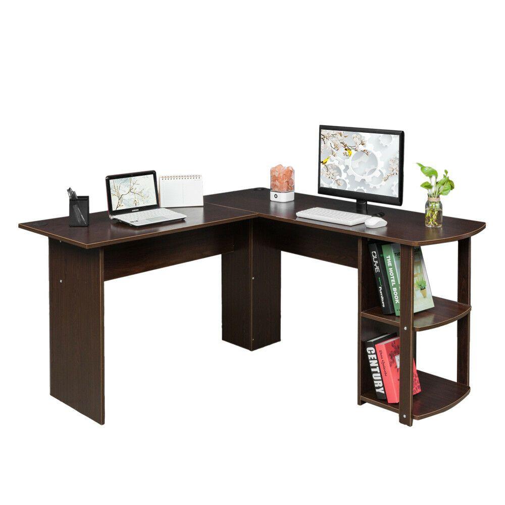 Office Deskorganization: FCH Office L-Shaped Computer Desk Wooden Laptop PC Table