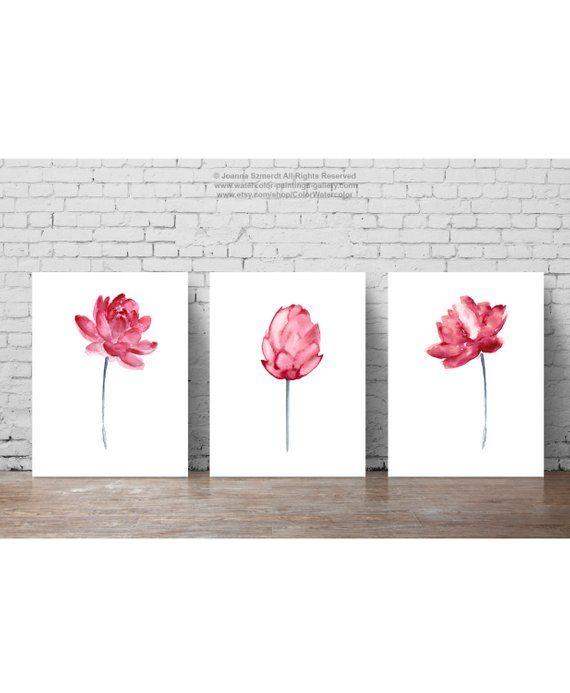 Lotus Flower Pink Wall Art Blooming Lotus Watercolor Painting Set