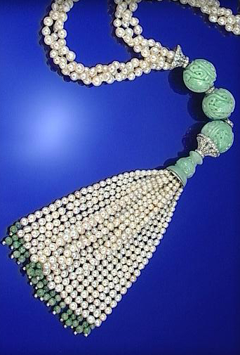 CULTURED PEARL, JADEITE AND DIAMOND SAUTOIR, 1920S AND LATER.
