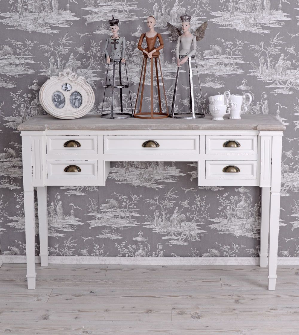 details zu konsole weiss wandtisch konsolentisch shabby chic nachttisch tischkonsole antik. Black Bedroom Furniture Sets. Home Design Ideas