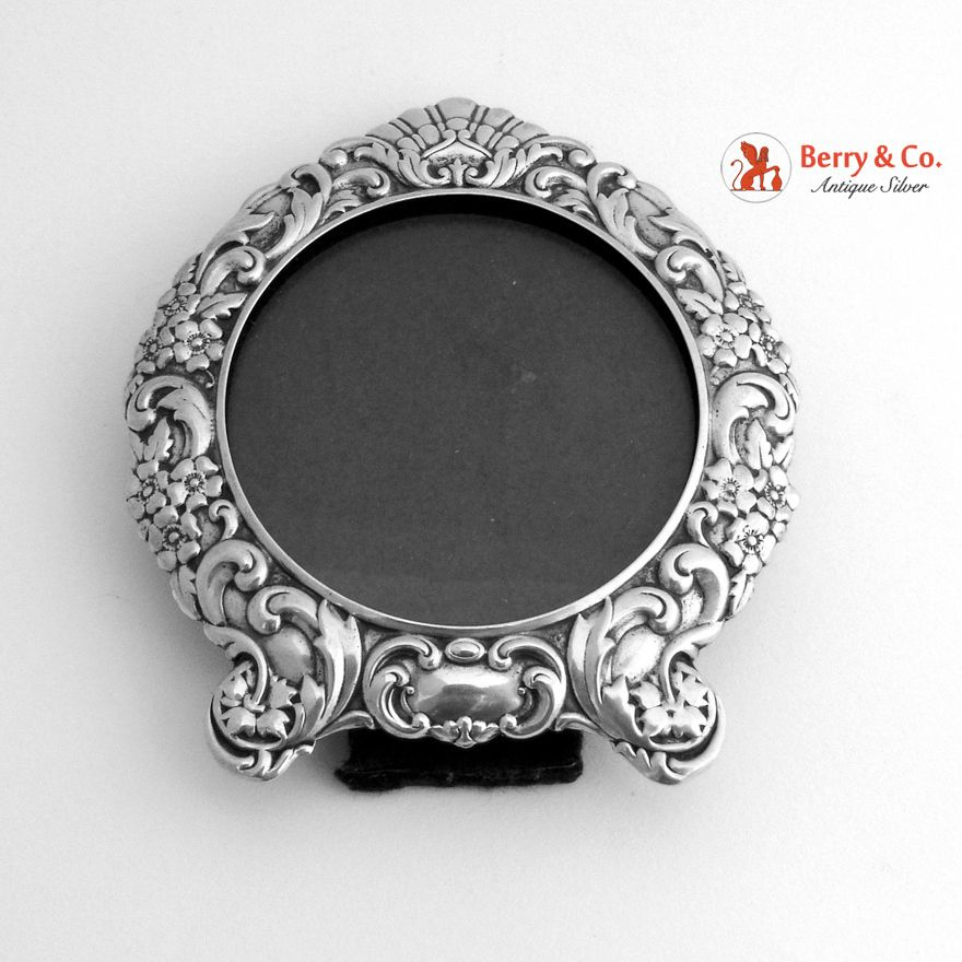 Sterling Silver Round Picture Frame, 1900 | Antique Silver Picture ...