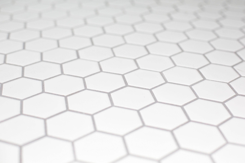 White Hexagon Bathroom Floor Tile With Grey Grout White Tile