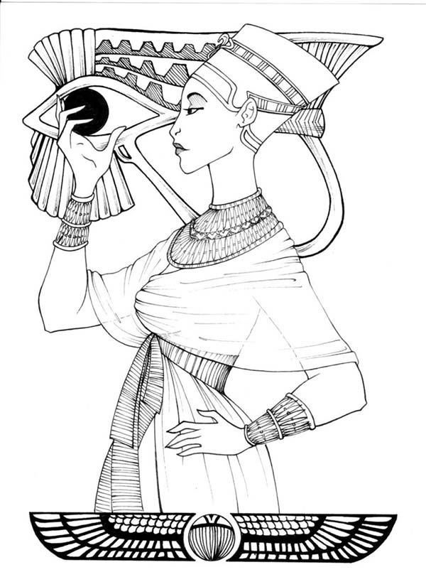 a figure of ancient egypt royal women coloring page - Ancient Egypt Mummy Coloring Pages