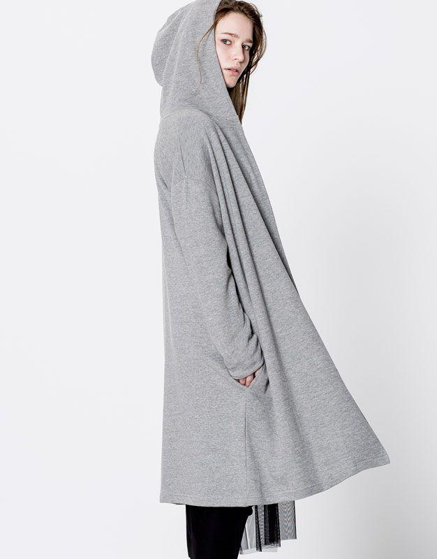 23€ Chaqueta felpa capucha larga - Sudaderas - Ropa - Mujer ...