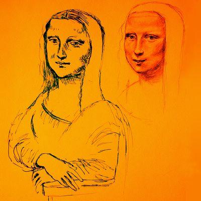 Mona Yellow Art Print  Painting by Batya Kuncman