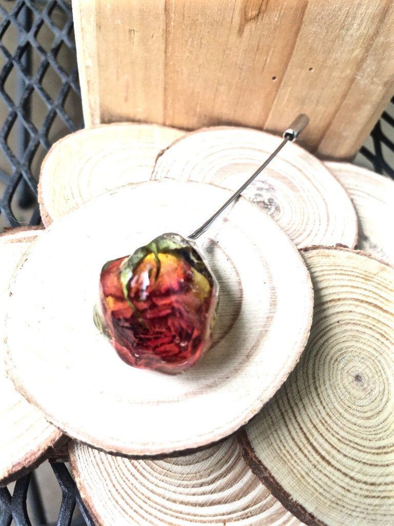 Orange Real Pressed Flower Vegan Pin Flower Lapel Pin