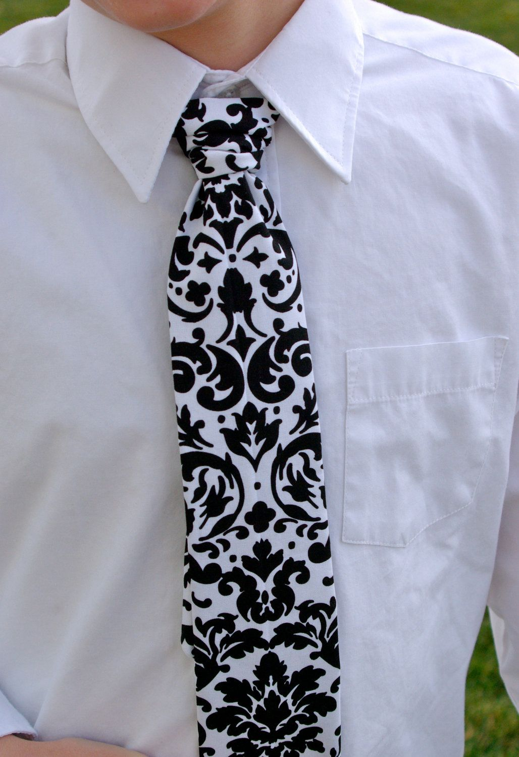 5cb0d1361a4c Black and White Damask Tie for Newborns to Boys ages 10/11 by GreenStyle.  $19.00, via Etsy.