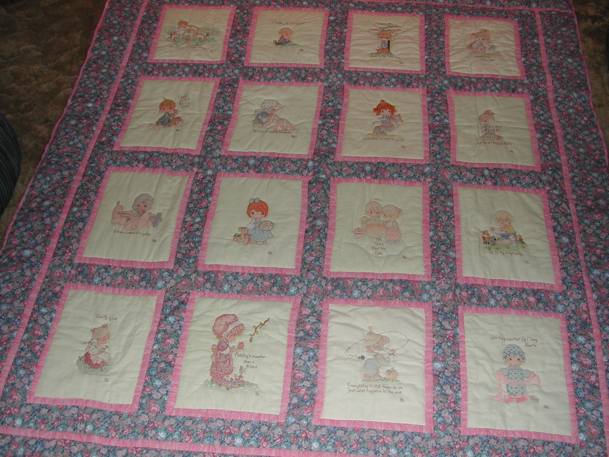 Precious Moments Cross Stitch Quilt made in 2003 | Quilting ... : precious moments quilt - Adamdwight.com