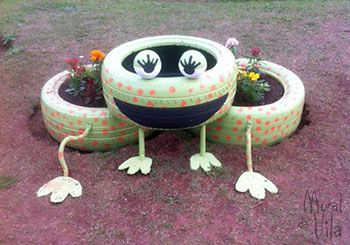 Personagem para o jardim feito com pneus