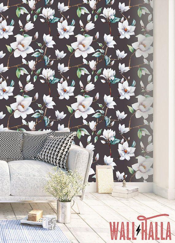 Cherry Blossom Wallpaper Removable Wallpaper Asian Flowers Etsy Cherry Blossom Wallpaper Removable Wallpaper Wallpaper