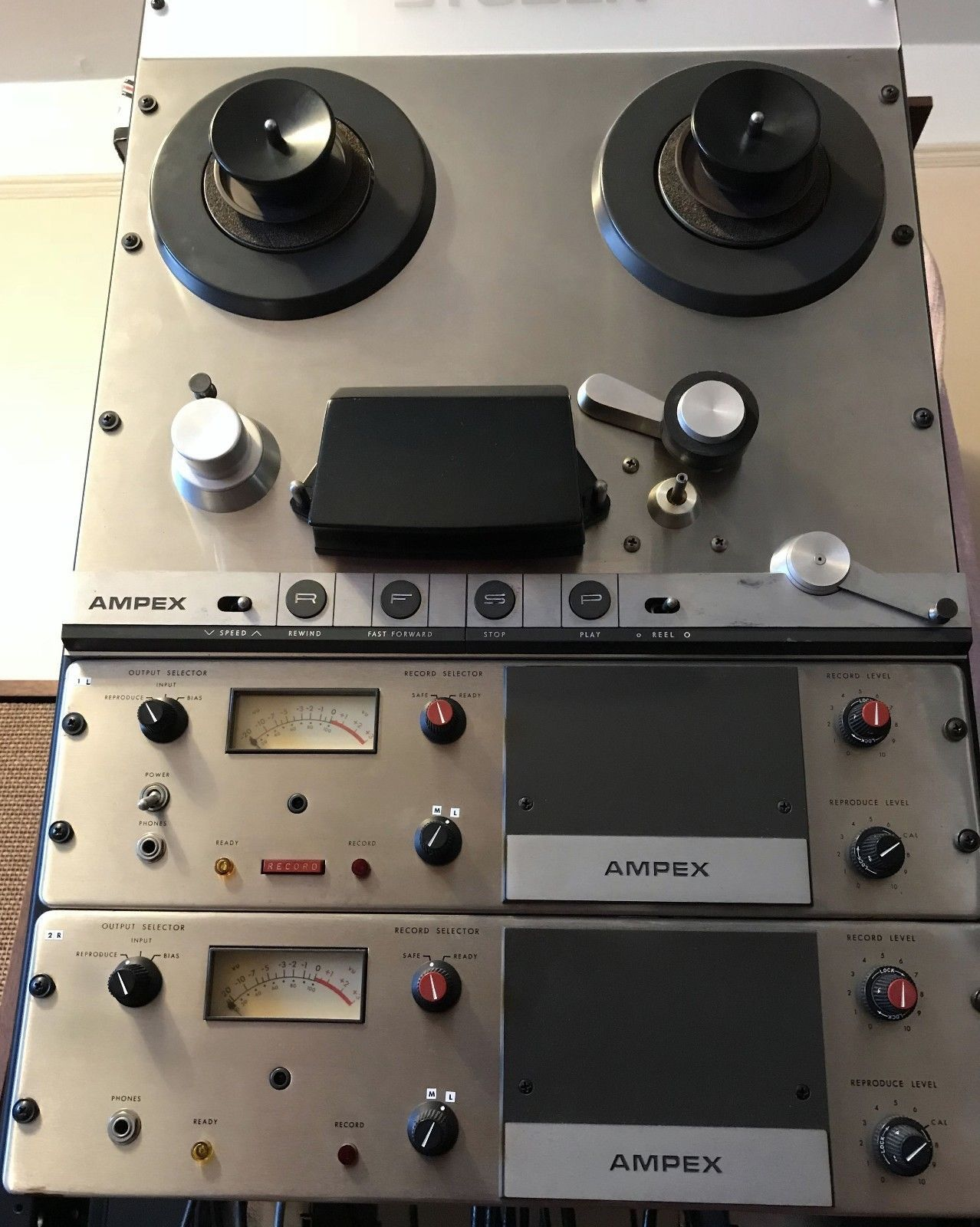 Ampex Ag 350 Reel To Reel Tape Deck Recorder Two Track 7 1 2 15 Pro Tape Deck Tape Recorder Deck