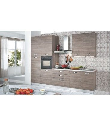 cucina completa moderna lunga 3 metri colore larice grigio comprensiva