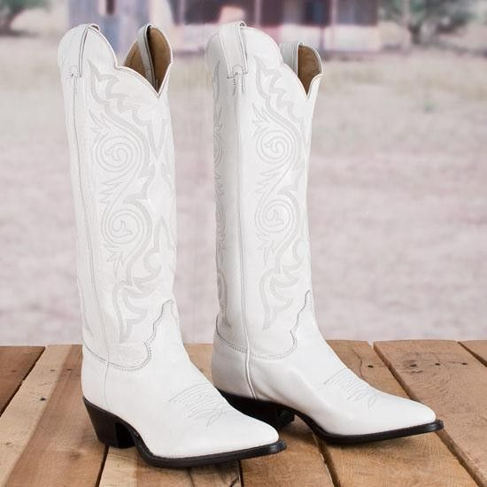 Justin Ladies' White Dyeable Boots