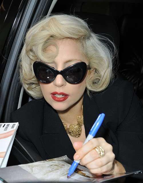 New Lady Gaga Short Hair Lady Gaga Sunglasses Celebrity Sunglasses Lady Gaga