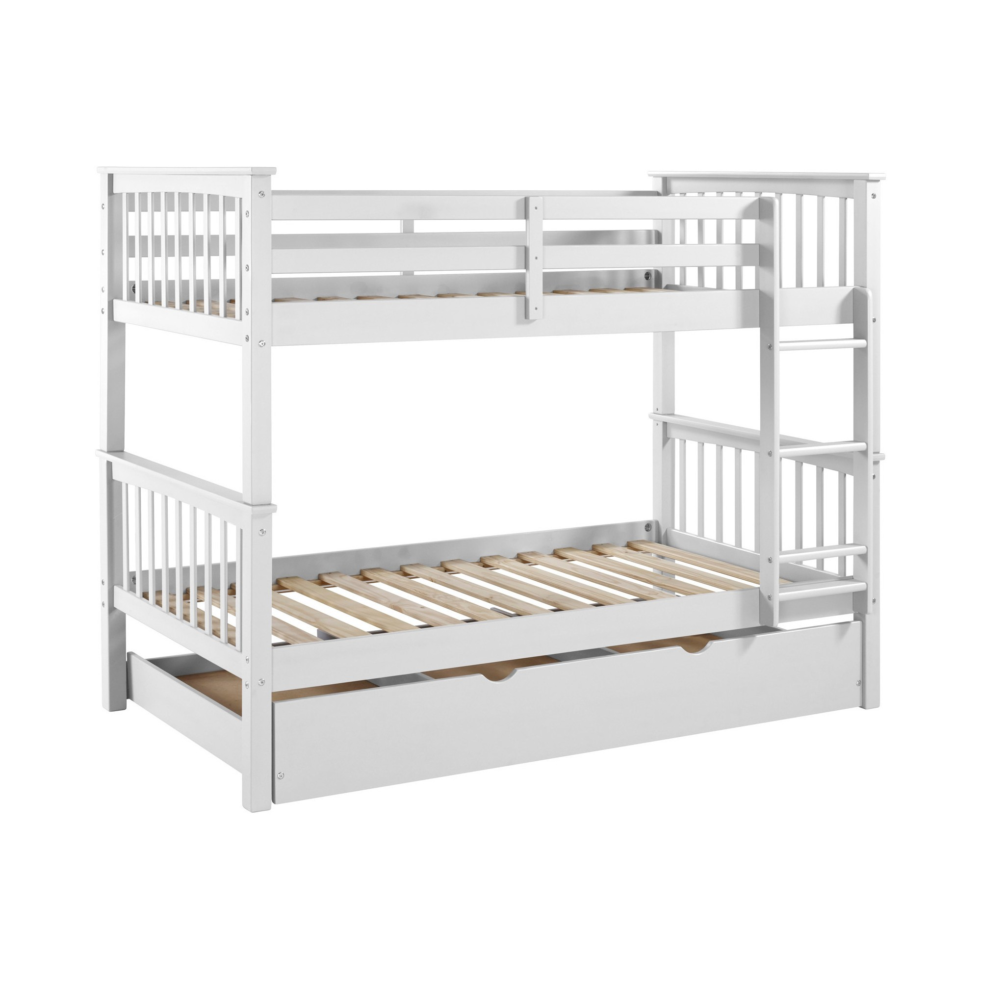 Kids metal loft bed with slide  Solid Wood Twin Bunk Bed with Trundle Bed  White  Saracina Home