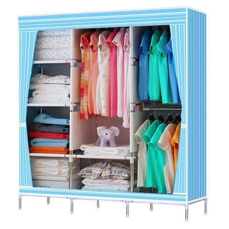 Blue 68 70 Portable Garment Closet Large Wardrobe Garment Hanger