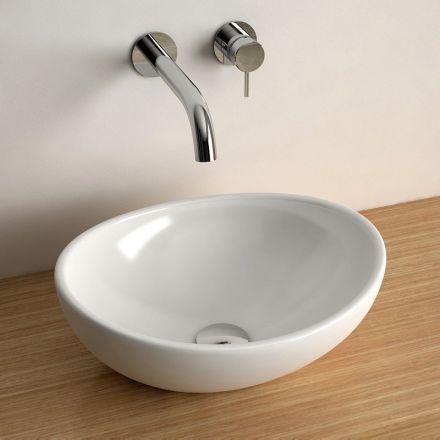 Vasque à poser ovale 40x33 cm céramique, Aoki - Meuble De Salle De Bain Sans Vasque