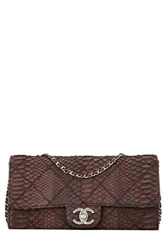 95cb7e8485f2 $3950 - CHANEL Brown Quilted Python Antique Crazy Stitch Wallet on Chain  (WOC) (