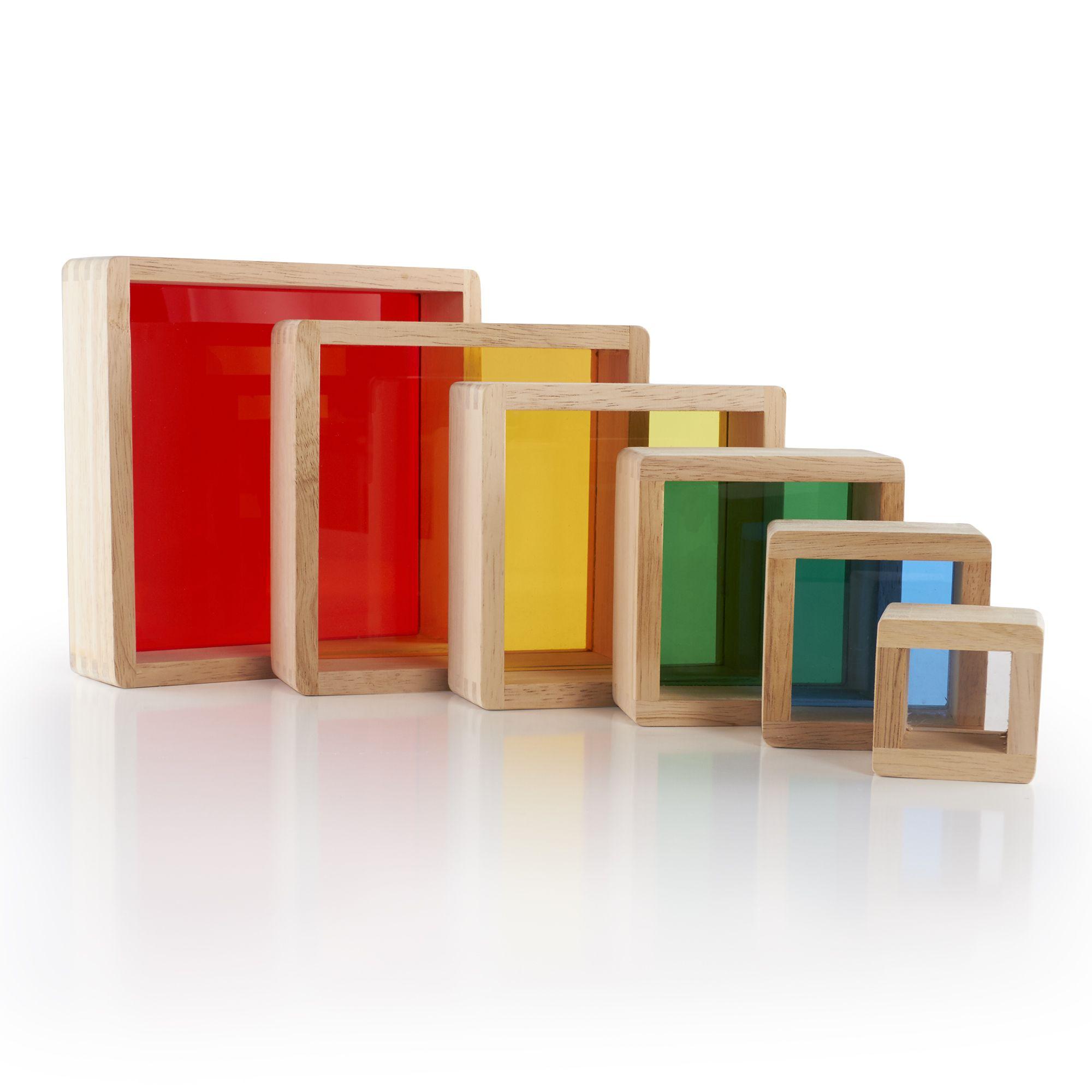Guidecraft Stacking Transparent Rainbow Pyramid Set
