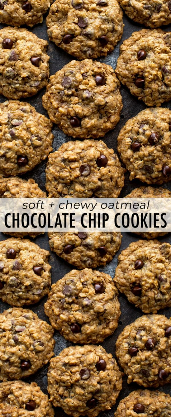 The best chocolate chip cookies! These soft & chewy oatmeal chocolate chip cookies have a few tricks to make them undeniably delicious, every time. Recipe on sallysbakingaddiction.com #chocolatechipcookies